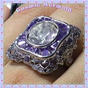 Jewelry - 🆕💜CHIC😍Lavender Purple Clear Oval CZ Ring💜6.5